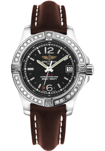 Breitling Watches - Colt Lady Diamond Bezel - Leather Strap - Deployant - Style No: A7738853/BD46-leather-brown-deployant