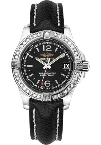 Breitling Watches - Colt Lady Diamond Bezel - Sahara Leather Strap - Deployant - Style No: A7738853/BD46-sahara-black-deployant
