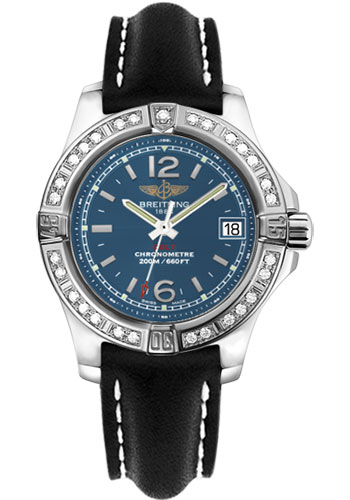 Breitling Watches - Colt Lady Diamond Bezel - Leather Strap - Deployant - Style No: A7738853/C908-leather-black-deployant