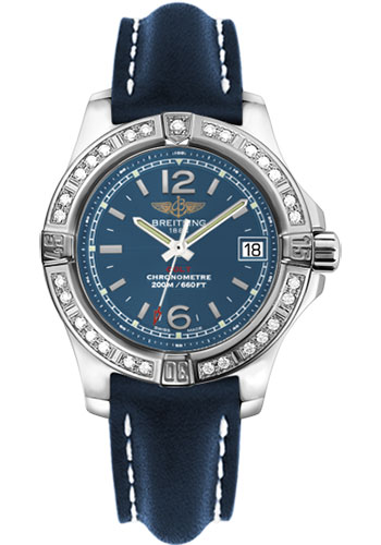 Breitling Watches - Colt Lady Diamond Bezel - Leather Strap - Deployant - Style No: A7738853/C908-leather-blue-deployant