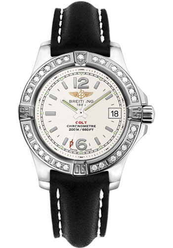 Breitling Watches - Colt Lady Diamond Bezel - Leather Strap - Deployant - Style No: A7738853/G793-leather-black-deployant