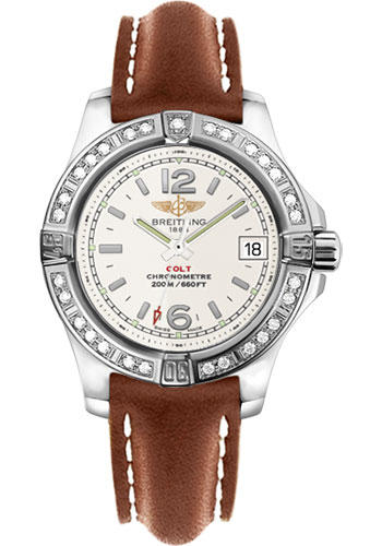 Breitling Watches - Colt Lady Diamond Bezel - Leather Strap - Deployant - Style No: A7738853/G793-leather-gold-deployant