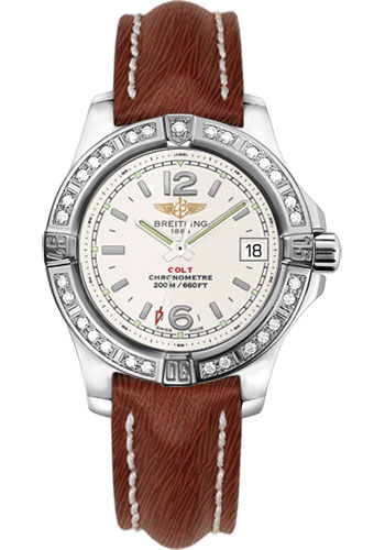 Breitling Watches - Colt Lady Diamond Bezel - Sahara Leather Strap - Deployant - Style No: A7738853/G793-sahara-brown-deployant
