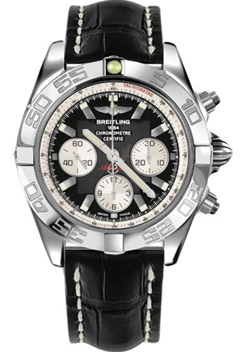 Breitling Watches - Chronomat 44 Steel Polished Bezel - Croco Strap - Tang - Style No: AB011012/B967-croco-black-tang