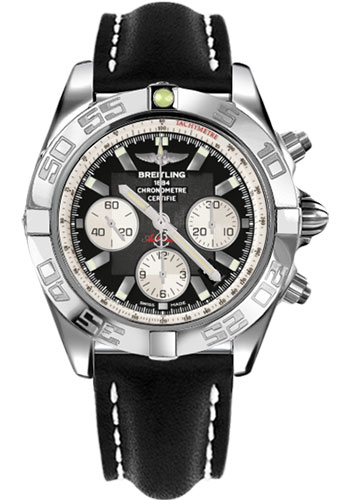 Breitling Watches - Chronomat 44 Steel Polished Bezel - Leather Strap - Tang - Style No: AB011012/B967-leather-black-tang
