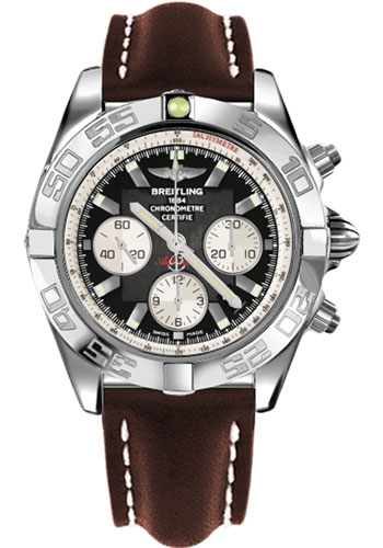 Breitling Watches - Chronomat 44 Steel Polished Bezel - Leather Strap - Deployant - Style No: AB011012/B967-leather-brown-deployant