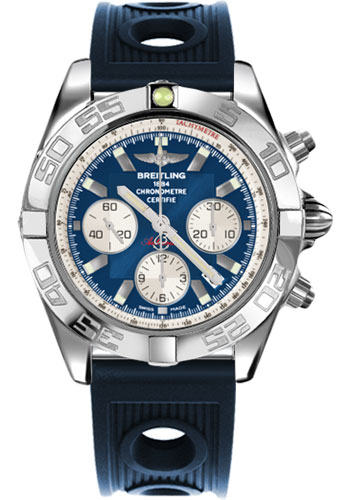 Breitling Watches - Chronomat 44 Steel Polished Bezel - Ocean Racer Strap - Deployant - Style No: AB011012/C788-ocean-racer-blue-deployant
