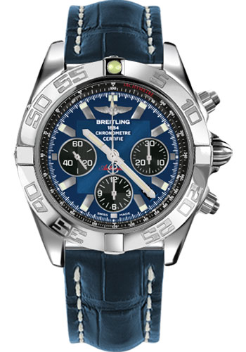 Breitling Watches - Chronomat 44 Steel Polished Bezel - Croco Strap - Tang - Style No: AB011012/C789-croco-blue-tang