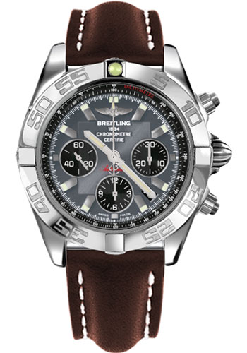 Breitling Watches - Chronomat 44 Steel Polished Bezel - Leather Strap - Deployant - Style No: AB011012/F546-leather-brown-deployant