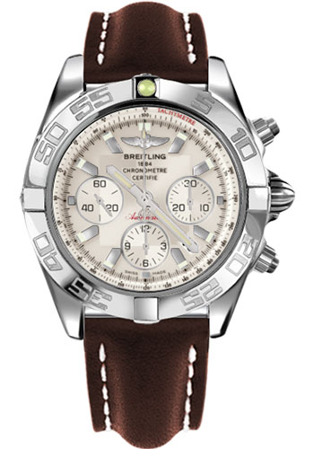 Breitling Watches - Chronomat 44 Steel Polished Bezel - Leather Strap - Deployant - Style No: AB011012/G684-leather-brown-deployant