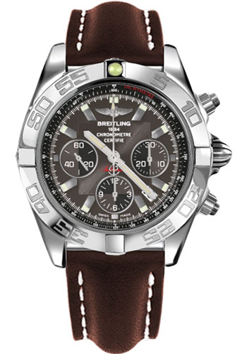 Breitling Watches - Chronomat 44 Steel Polished Bezel - Leather Strap - Deployant - Style No: AB011012/M524-leather-brown-deployant