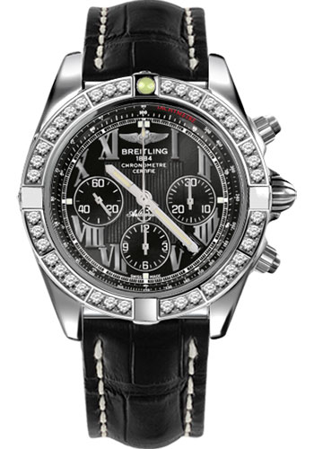 Breitling Watches - Chronomat 44 Steel 40 Dia Bezel - Croco Strap - Deployant - Style No: AB011053/B956-croco-black-deployant
