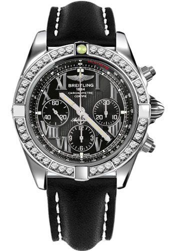 Breitling Watches - Chronomat 44 Steel 40 Dia Bezel - Leather Strap - Tang - Style No: AB011053/B956-leather-black-tang