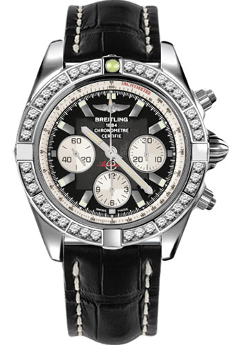 Breitling Watches - Chronomat 44 Steel 40 Dia Bezel - Croco Strap - Deployant - Style No: AB011053/B967-croco-black-deployant