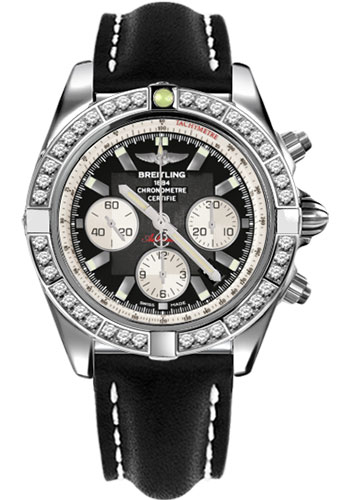 Breitling Watches - Chronomat 44 Steel 40 Dia Bezel - Leather Strap - Tang - Style No: AB011053/B967-leather-black-tang