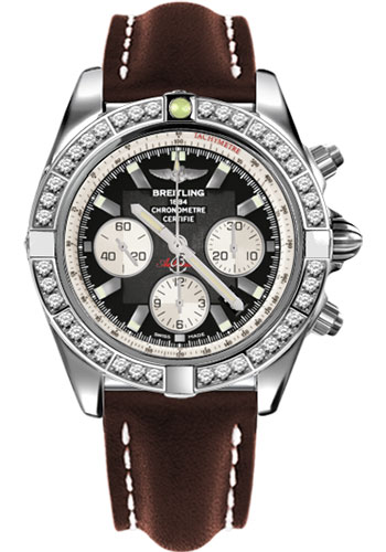 Breitling Watches - Chronomat 44 Steel 40 Dia Bezel - Leather Strap - Tang - Style No: AB011053/B967-leather-brown-tang