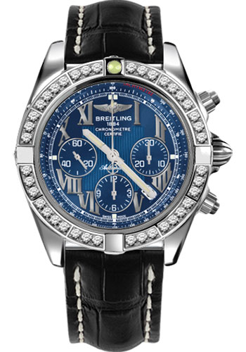 Breitling Watches - Chronomat 44 Steel 40 Dia Bezel - Croco Strap - Deployant - Style No: AB011053/C783-croco-black-deployant