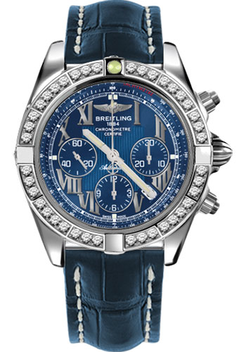 Breitling Watches - Chronomat 44 Steel 40 Dia Bezel - Croco Strap - Deployant - Style No: AB011053/C783-croco-blue-deployant