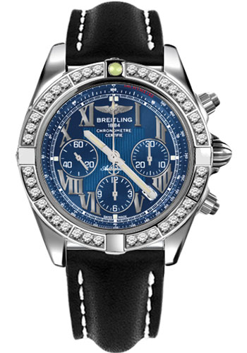 Breitling Watches - Chronomat 44 Steel 40 Dia Bezel - Leather Strap - Tang - Style No: AB011053/C783-leather-black-tang