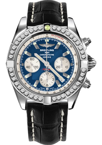 Breitling Watches - Chronomat 44 Steel 40 Dia Bezel - Croco Strap - Deployant - Style No: AB011053/C788-croco-black-deployant