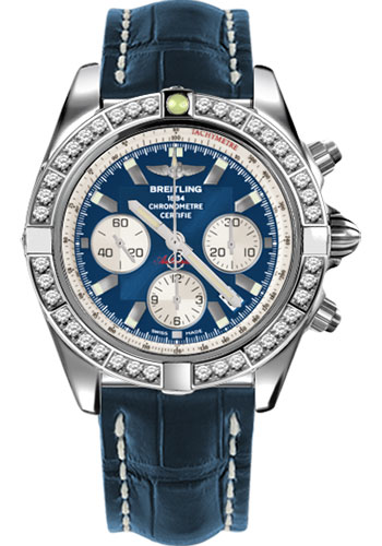 Breitling Watches - Chronomat 44 Steel 40 Dia Bezel - Croco Strap - Deployant - Style No: AB011053/C788-croco-blue-deployant
