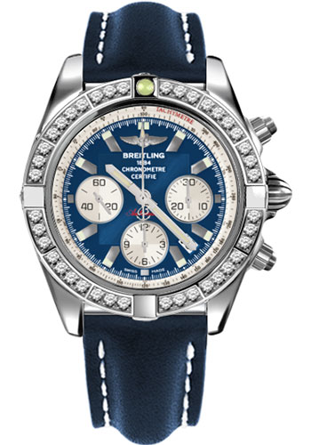 Breitling Watches - Chronomat 44 Steel 40 Dia Bezel - Leather Strap - Tang - Style No: AB011053/C788-leather-blue-tang