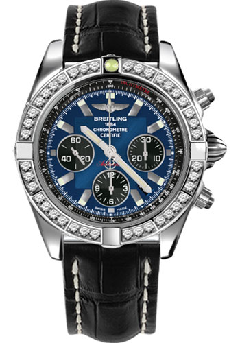 Breitling Watches - Chronomat 44 Steel 40 Dia Bezel - Croco Strap - Deployant - Style No: AB011053/C789-croco-black-deployant