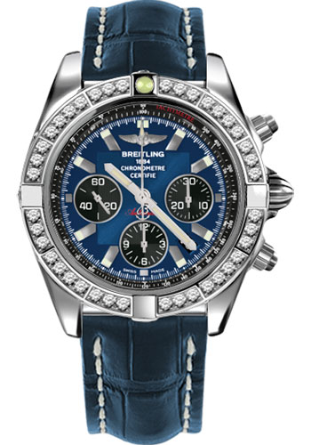 Breitling Watches - Chronomat 44 Steel 40 Dia Bezel - Croco Strap - Deployant - Style No: AB011053/C789-croco-blue-deployant