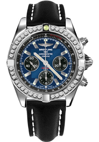 Breitling Watches - Chronomat 44 Steel 40 Dia Bezel - Leather Strap - Tang - Style No: AB011053/C789-leather-black-tang