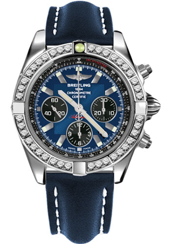 Breitling Watches - Chronomat 44 Steel 40 Dia Bezel - Leather Strap - Tang - Style No: AB011053/C789-leather-blue-tang