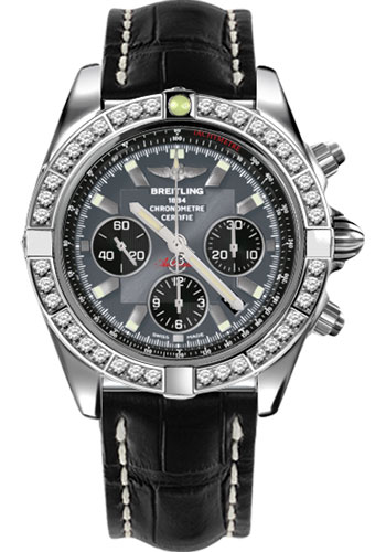 Breitling Watches - Chronomat 44 Steel 40 Dia Bezel - Croco Strap - Deployant - Style No: AB011053/F546-croco-black-deployant
