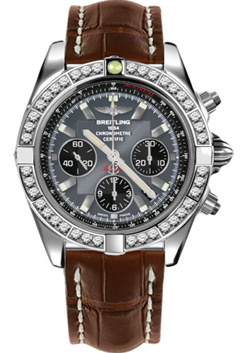 Breitling Watches - Chronomat 44 Steel 40 Dia Bezel - Croco Strap - Deployant - Style No: AB011053/F546-croco-brown-deployant