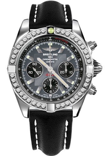 Breitling Watches - Chronomat 44 Steel 40 Dia Bezel - Leather Strap - Tang - Style No: AB011053/F546-leather-black-tang