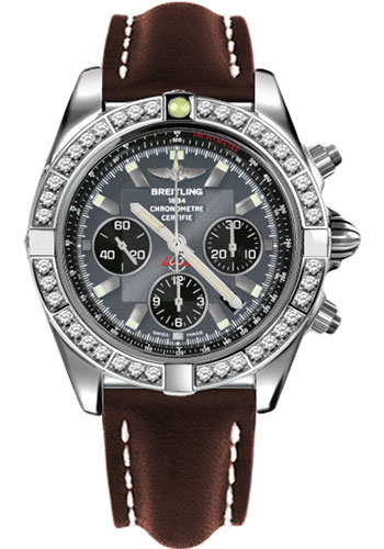 Breitling Watches - Chronomat 44 Steel 40 Dia Bezel - Leather Strap - Tang - Style No: AB011053/F546-leather-brown-tang