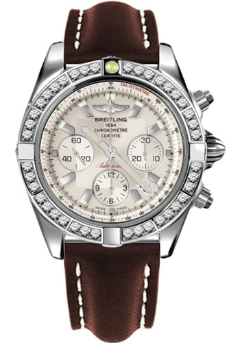Breitling Watches - Chronomat 44 Steel 40 Dia Bezel - Leather Strap - Tang - Style No: AB011053/G684-leather-brown-tang