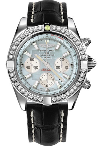 Breitling Watches - Chronomat 44 Steel 40 Dia Bezel - Croco Strap - Deployant - Style No: AB011053/G686-croco-black-deployant