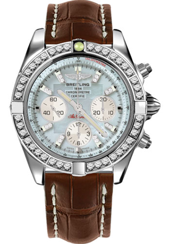 Breitling Watches - Chronomat 44 Steel 40 Dia Bezel - Croco Strap - Deployant - Style No: AB011053/G686-croco-brown-deployant