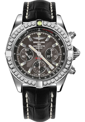 Breitling Watches - Chronomat 44 Steel 40 Dia Bezel - Croco Strap - Deployant - Style No: AB011053/M524-croco-black-deployant
