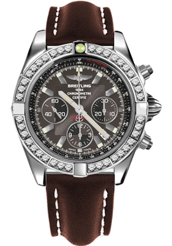 Breitling Watches - Chronomat 44 Steel 40 Dia Bezel - Leather Strap - Tang - Style No: AB011053/M524-leather-brown-tang