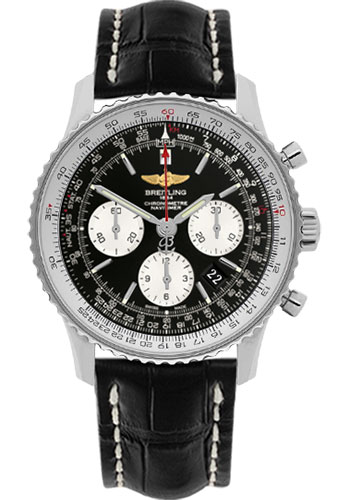 Breitling Watches - Navitimer 01 43mm - Stainless Steel - Croco Strap - Deployant - Style No: AB012012/BB01-croco-black-folding