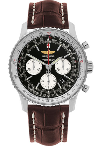 Breitling Watches - Navitimer 01 43mm - Stainless Steel - Croco Strap - Deployant - Style No: AB012012/BB01-croco-brown-folding