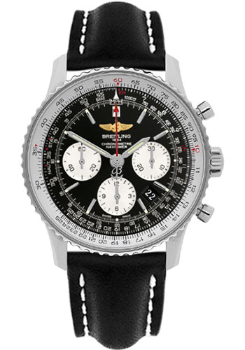 Breitling Watches - Navitimer 01 43mm - Stainless Steel - Leather Strap - Tang - Style No: AB012012/BB01-leather-black-tang