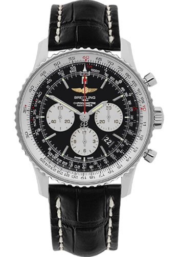 Breitling Watches - Navitimer 01 46mm - Stainless Steel - Croco Strap - Deployant - Style No: AB012721/BD09-croco-black-deployant