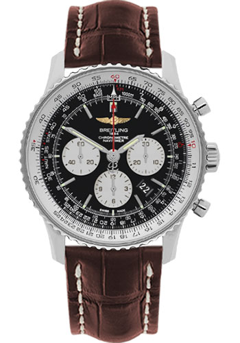 Breitling Watches - Navitimer 01 46mm - Stainless Steel - Croco Strap - Deployant - Style No: AB012721/BD09-croco-brown-deployant