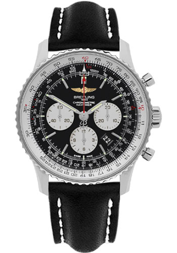 Breitling Watches - Navitimer 01 46mm - Stainless Steel - Leather Strap - Tang - Style No: AB012721/BD09-leather-black-tang