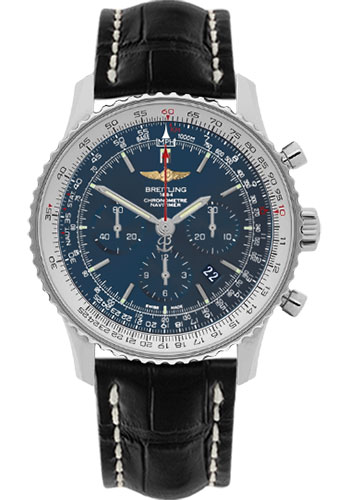 Breitling Watches - Navitimer 01 46mm - Stainless Steel - Croco Strap - Tang - Style No: AB012721/C889-croco-black-tang