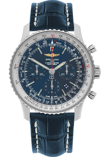 Breitling Watches - Navitimer 01 46mm - Stainless Steel - Croco Strap - Tang - Style No: AB012721/C889-croco-blue-tang