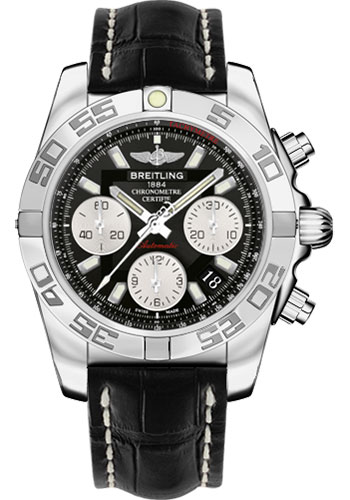 Breitling Watches - Chronomat 41 Steel Polished Bezel - Croco Strap - Deployant - Style No: AB014012/BA52-croco-black-folding