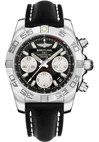 Breitling Watches - Chronomat 41 Steel Polished Bezel - Leather Strap - Tang - Style No: AB014012/BA52-leather-black-tang