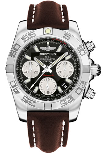 Breitling Watches - Chronomat 41 Steel Polished Bezel - Leather Strap - Tang - Style No: AB014012/BA52-leather-brown-tang